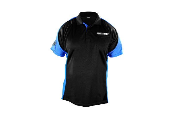 Winmau Wincool 3 Black & Aqua Blue Dart Shirt