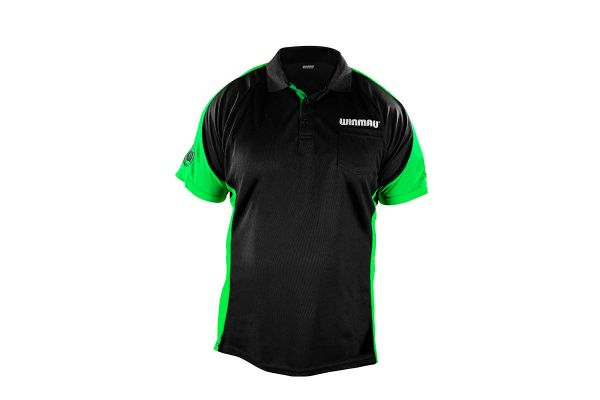 Winmau Wincool 3 Black & Neon Green Dart Shirt