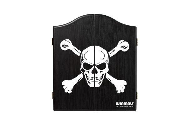 Winmau Skull & Cross Bones Black Ash Effect Dartboard Cabinet